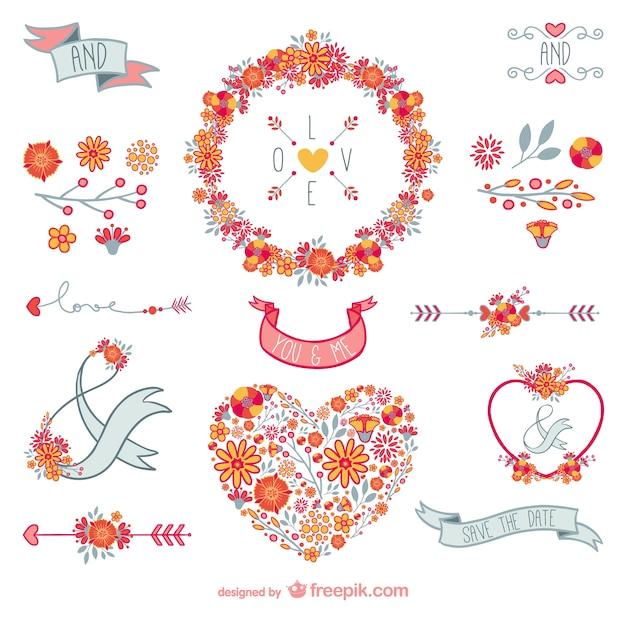 Decoraci n floral de amor descargar vectores gratis - Adornos para fotos gratis ...