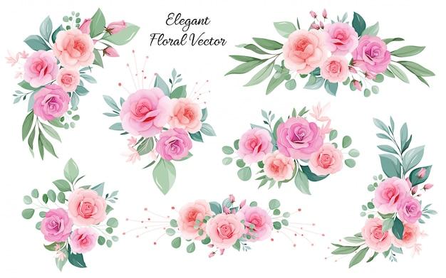 Decoración floral de rosas, hojas, ramas de durazno y rubor Vector Premium