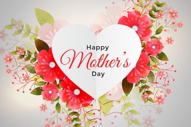 Decoración de follaje para feliz día de la madre. vector gratuito