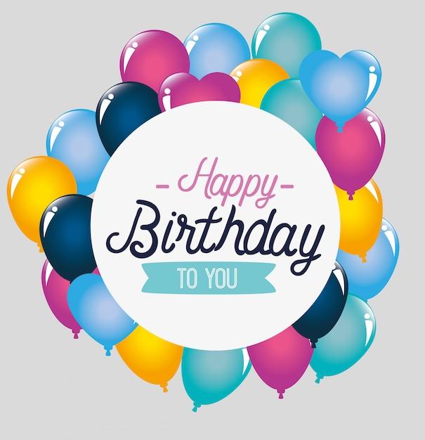 Decoración de globos para feliz cumpleaños, tarjeta de felicitación vector gratuito
