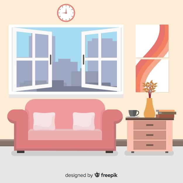 Decoración interior de casa moderna con diseño plano Vector Premium