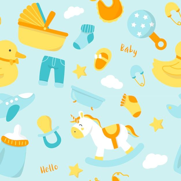 Decoración linda del cuarto de niños del bebé vector gratuito