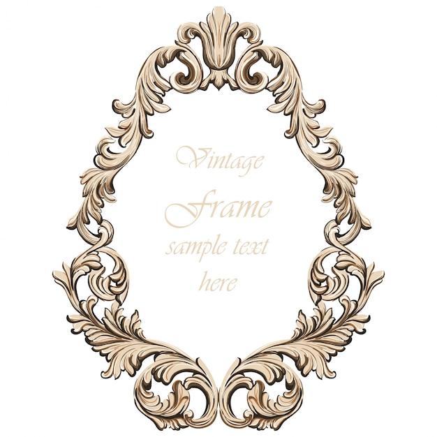 Decoración de marco barroco de la vendimia. ilustración de vector de ornamento detallada Vector Premium