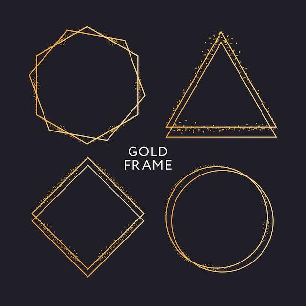 Decoración de marco dorado aislado patrón de borde degradado metálico dorado brillante Vector Premium