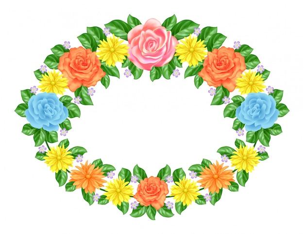 Decoración de marco floral Vector Premium