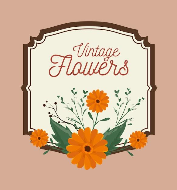 Decoración de marco de flores vintage vector gratuito
