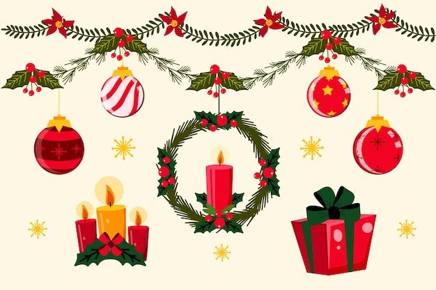 Decoración navideña dibujada a mano vector gratuito