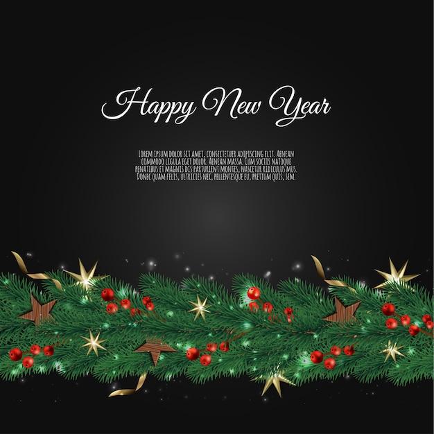 Decoración navideña con ramas de abeto y frutos rojos sobre un fondo oscuro Vector Premium