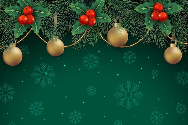 Decoración navideña sobre fondo verde con copos de nieve Vector Premium