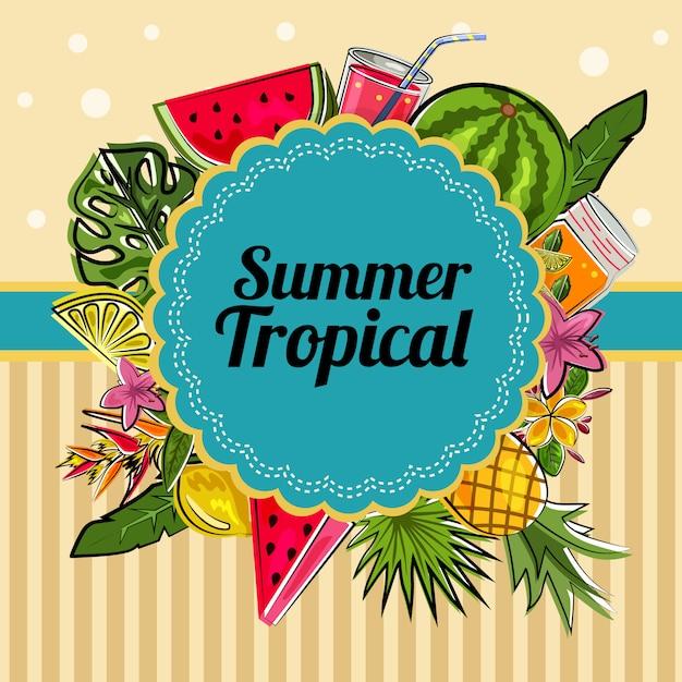 Decoración de tarjeta tropical de verano Vector Premium
