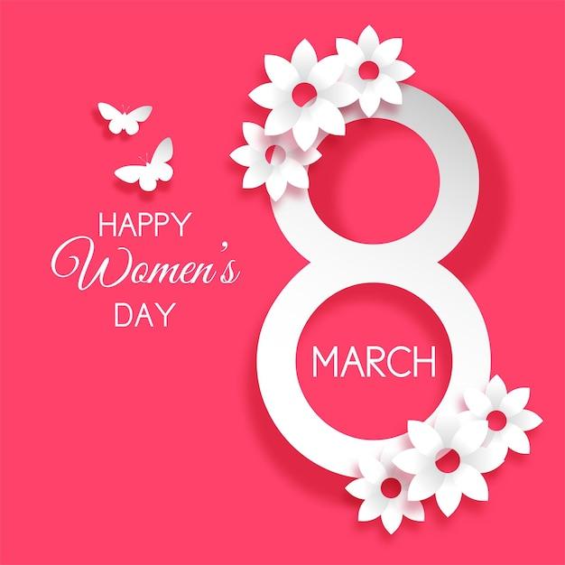 Decorativo día internacional de la mujer con flores y mariposas. vector gratuito