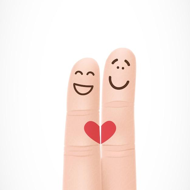 Dedos Divertidos Con Caras En El Amor Descargar Vectores Gratis