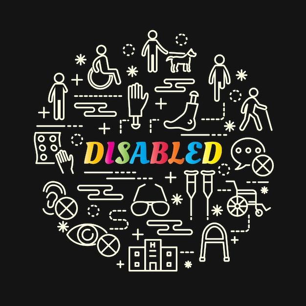 Degradado de colores con discapacidad con iconos de línea Vector Premium