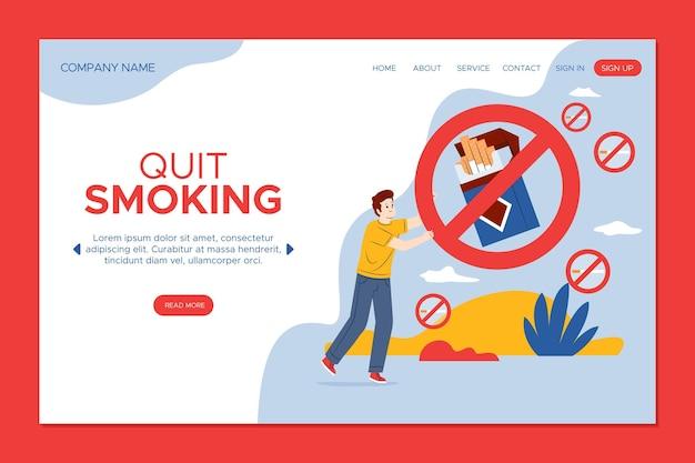 Dejar de fumar página de destino con señal de prohibido vector gratuito
