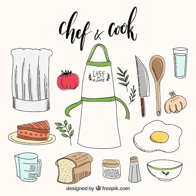 Delantal con ingredientes y algunos objetos de cocina for Objetos de cocina