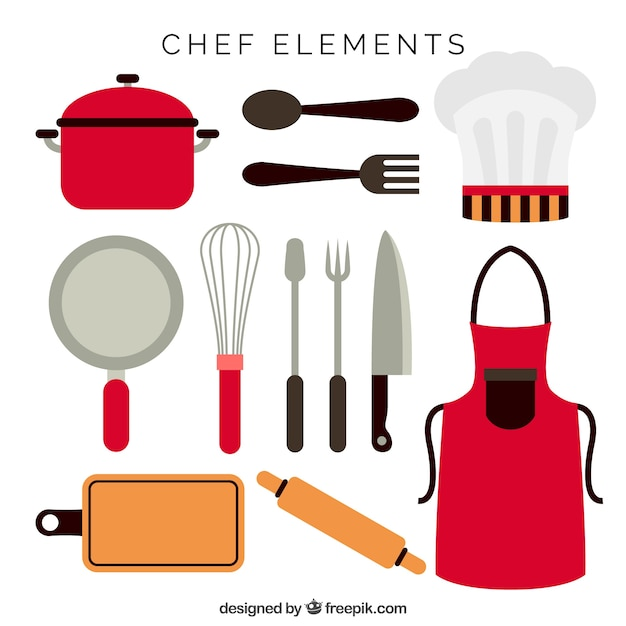 Delantal y otros artículos de chef en diseño plano vector gratuito