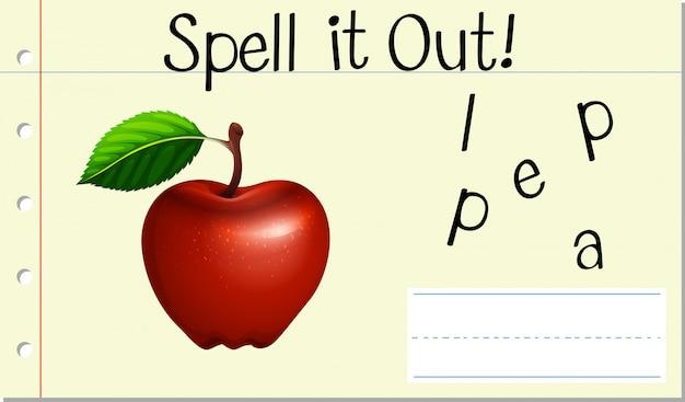 Deletrear la palabra inglesa apple vector gratuito