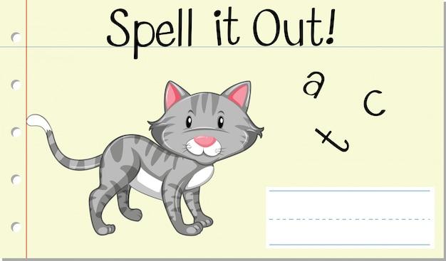 Deletrear la palabra inglesa gato vector gratuito