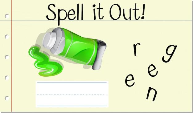 Deletrear la palabra verde verde vector gratuito