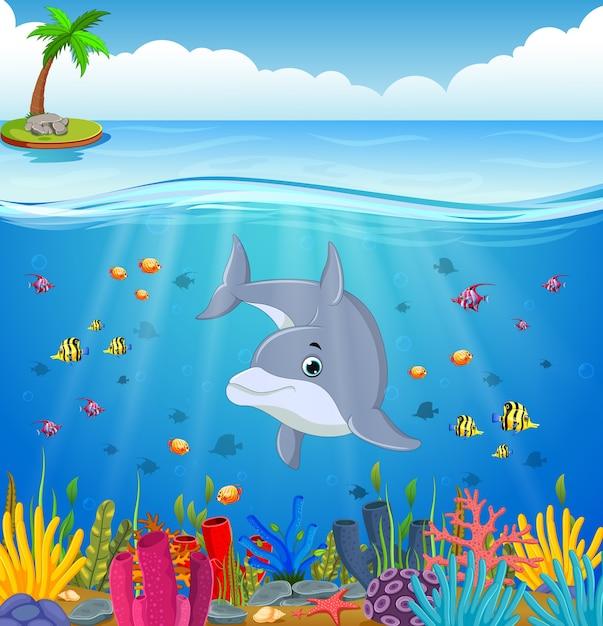 Delfín De Dibujos Animados Bajo El Mar