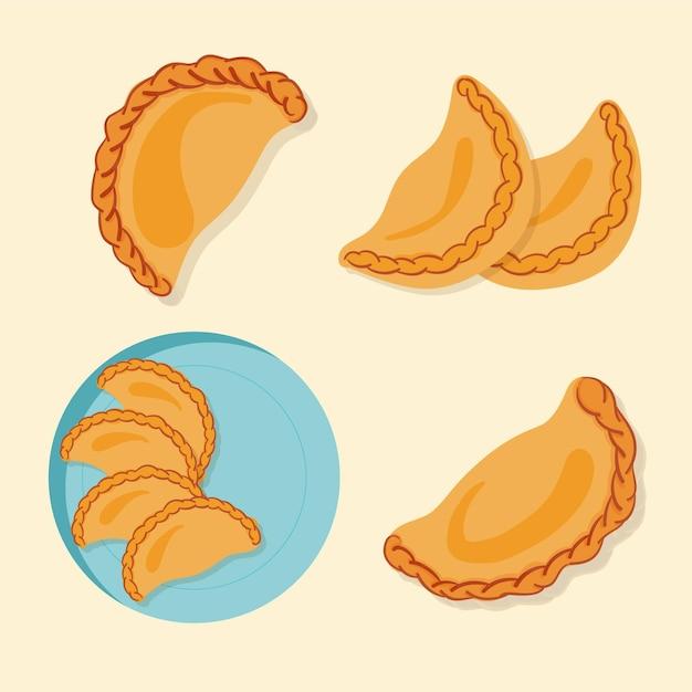 Deliciosa colección de bocadillos de empanada española vector gratuito