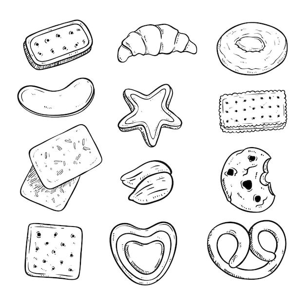 Deliciosa colección de galletas con estilo de dibujo Vector Premium