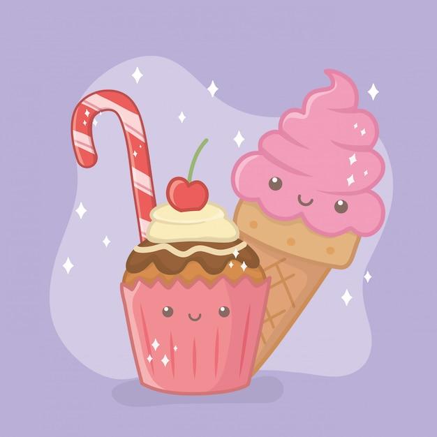 Deliciosa y dulce magdalena y productos de personajes kawaii. vector gratuito