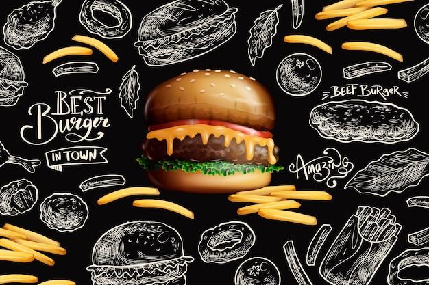 Deliciosa hamburguesa y papas fritas vector gratuito