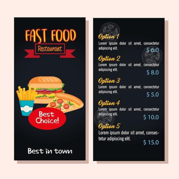 Deliciosa tarjeta de menú de restaurante de comida rápida ...