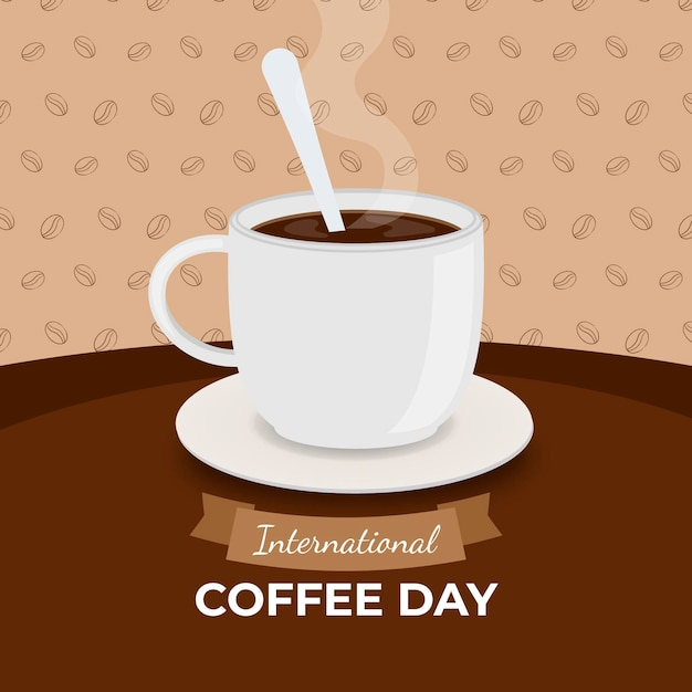 Deliciosa taza de café blanco con cuchara vector gratuito