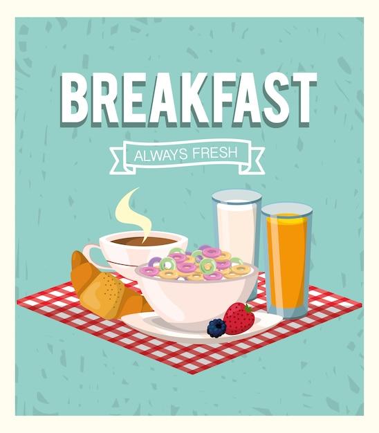 Delicioso cereal con zumo de naranja y desayuno croissant. Vector Premium