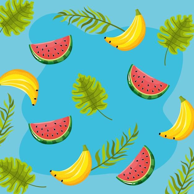 Delicioso diseño de fondo de frutas tropicales Vector Premium