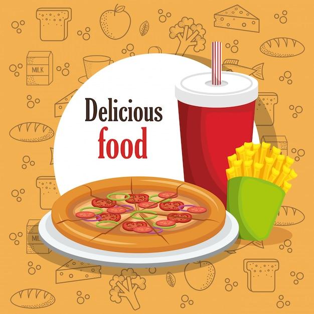 Delicioso menú de comida rápida vector gratuito