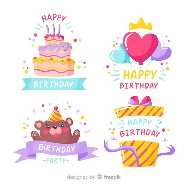 Deliciosos dulces coloridos para cumpleaños vector gratuito