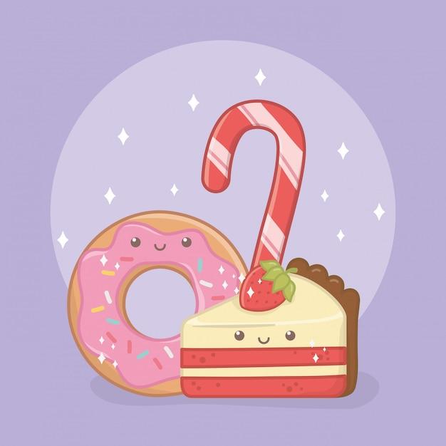 Deliciosos y dulces donuts y productos de personajes kawaii. vector gratuito