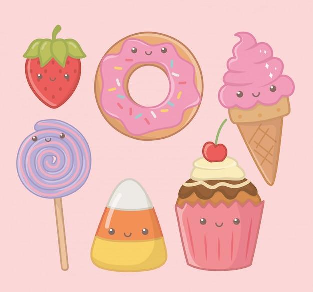 Deliciosos y dulces productos de los personajes kawaii. vector gratuito