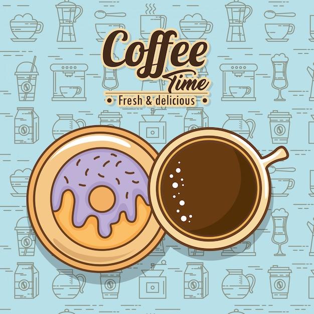 Deliciosos elementos de tiempo de café vector gratuito