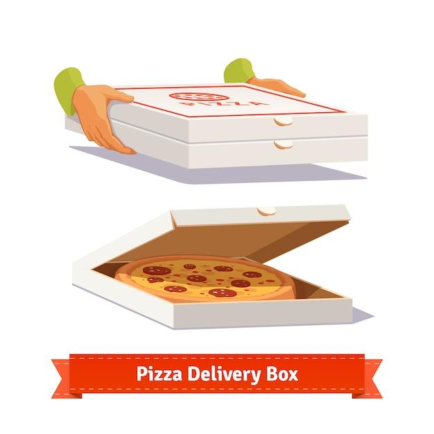Delivery de pizza. entrega de cajas de pizza   Descargar Vectores gratis