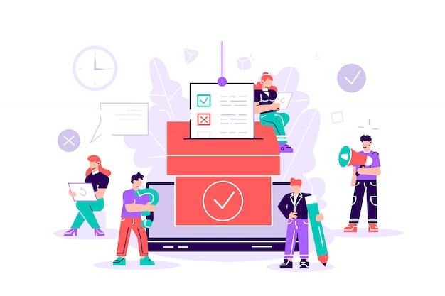 Democracia. concepto de ilustración de vector de voto en línea, la gente da voto y pone voto en papel en la urna. Vector Premium