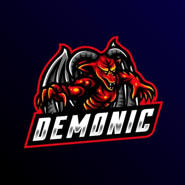 Demonic mascot logo esport gaming Vector Premium