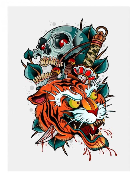 Demonio tigre japonés con cráneo humano Vector Premium