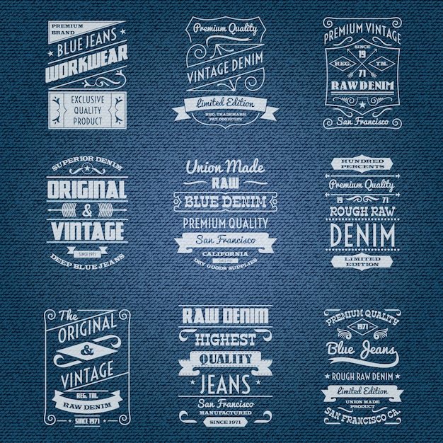 Denim jeans blancos tipografia etiquetas vector gratuito