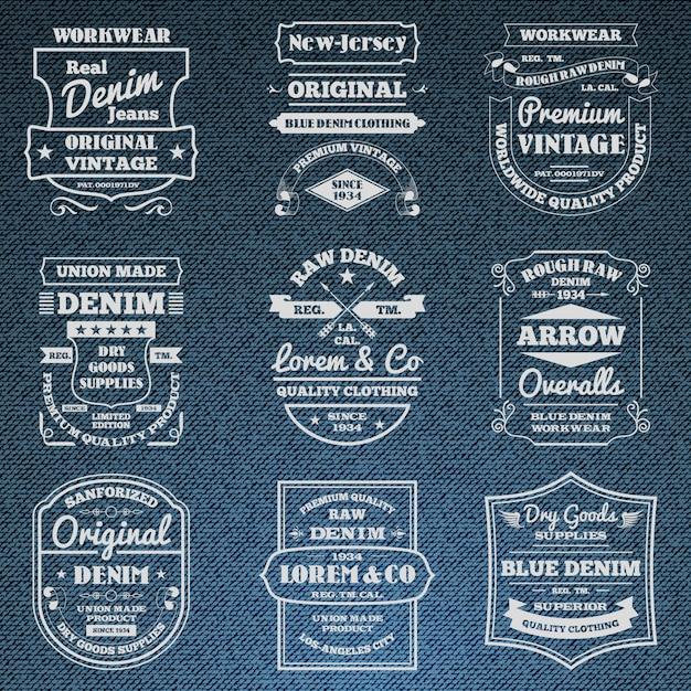 Denim jeans tipografía logo emblemas conjunto vector gratuito