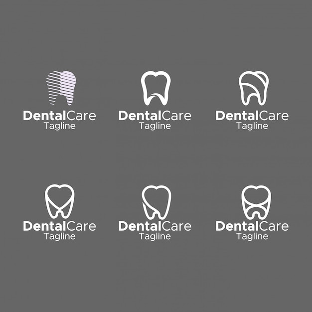 Dental logo simple monogram elegante diseño plano Vector Premium