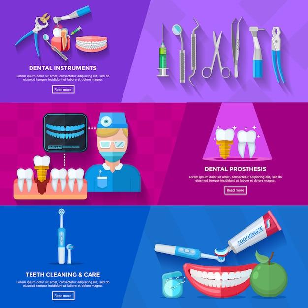 Dentista de bandera plana vector gratuito