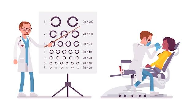 Dentista y oftalmólogo masculino. Vector Premium
