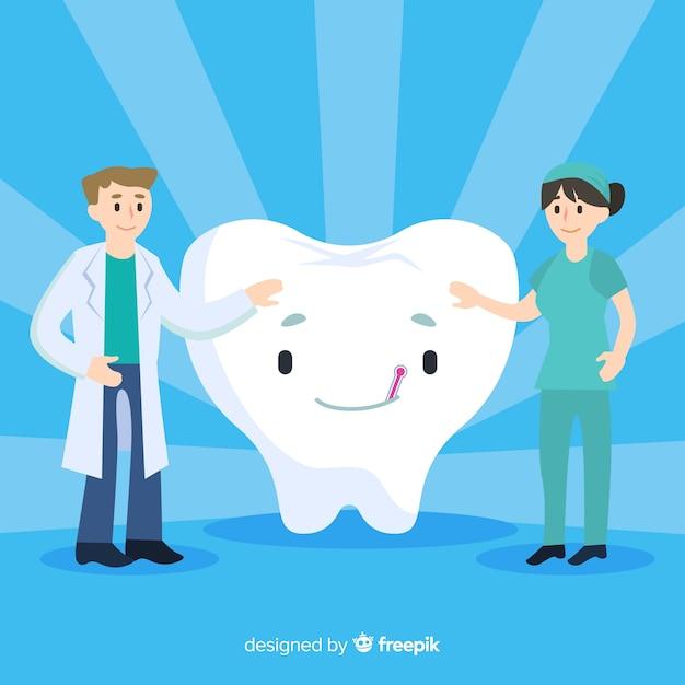Dentistas cuidando de una muela gigante vector gratuito