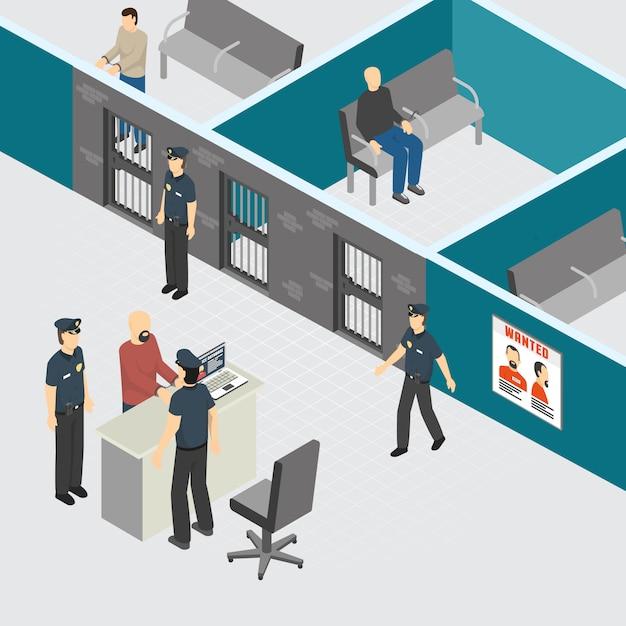 Departamento de policía, prisión preventiva provisional, sección de prisión, composición isométrica interior con oficiales de guardias arrestados criminales ilustración vectorial vector gratuito