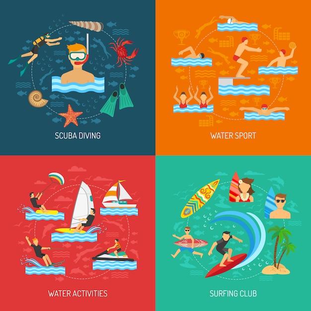 Deporte acuático 2x2 design concept vector gratuito