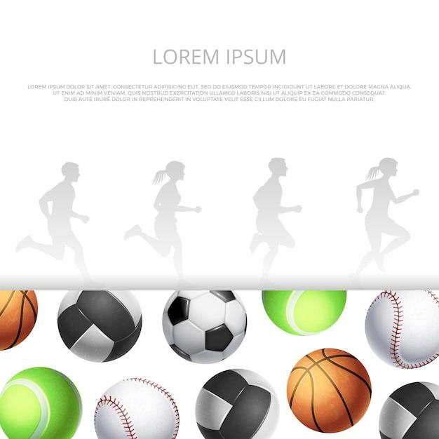 Deporte, diseño de fitness con balones realistas y siluetas de personas corriendo. Vector Premium